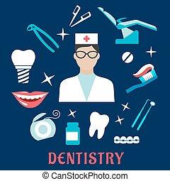 平ら, 要素, アイコン, 歯医者の, 歯科医, 歯科医術