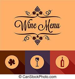平ら, 要素, デザイン, ワイン, メニュー