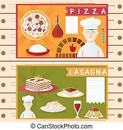 平ら, 要素, 料理, ベクトル, デザイン, ポスター, イタリア語