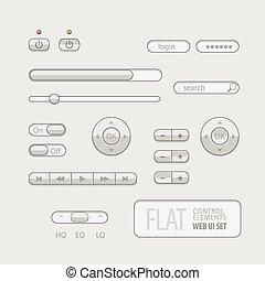 平ら, 要素, 網, 灰色, ui, デザイン