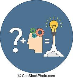 平ら, 解決, 革新, 見つけること, concept., design.