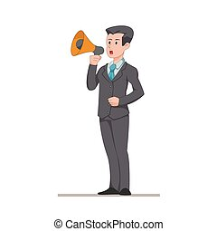 平ら, 言う, eps10., 特徴, 隔離された, イラスト, バックグラウンド。, マネージャー, 重要, ベクトル, ビジネスマン, announcement., 白, speaker., 作り, ∥あるいは∥, 人
