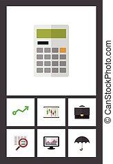 平ら, 計算しなさい, セット, 入ってくる, elements., 図, 捜索しなさい, 金融, 含む, また, ベクトル, 成長, 傘, objects., 他, アイコン