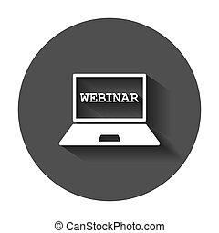 平ら, 訓練, ビジネス, プロセス, concept., webinar, イラスト, style., ベクトル, 長い間, オンラインで, e 勉強, shadow., セミナー, アイコン