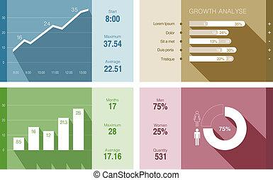 平ら, 財政, report., ビジネス, ベクトル, infographics, design.