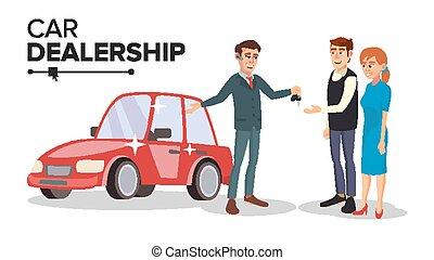 平ら, 販売, 自動車, concept., 特徴, 隔離された, イラスト, ディーラー, 販売会社, vector., 自動車, 漫画, agent.