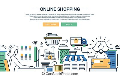 平ら, 買い物, 購入, プロセス, デザイン, オンラインで, 線, 旗