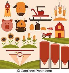 平ら, 農業, デザイン, 漫画, アイコン