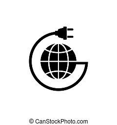平ら, 送電線, 地球, ベクトル, 地球, アイコン
