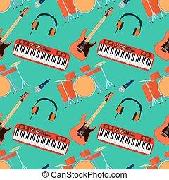 平ら, 道具, ヘッドホン, pattern., seamless, シンセサイザ, ミュージカル, ギター, ベクトル, band., イラスト, ドラム, デザイン, マイクロフォン