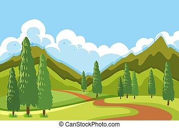 平ら, 道, 風景, 山
