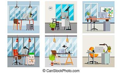 平ら, 部屋, ビジネスオフィス, 現代, イラスト, vector., 内部, workspace., 家具, design.