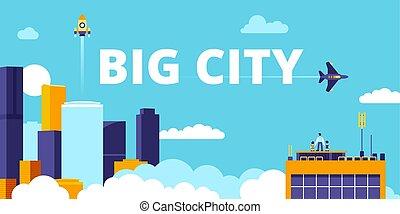平ら, 都市, 大きい, イラスト, ベクトル, 痛みなさい, 都市