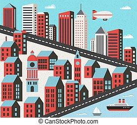 平ら, 都市, 家
