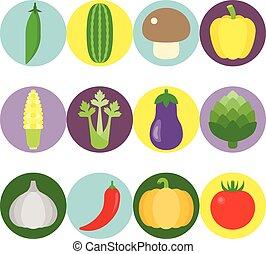 平ら, 野菜, ベクトル, セット, アイコン