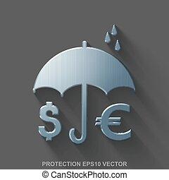 平ら, 金属, セキュリティー, 3d, icon., 磨かれる, 鋼鉄, お金, そして, 傘, 上に, 灰色, バックグラウンド。, eps, 10, vector.