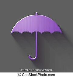 平ら, 金属, セキュリティー, 3d, icon., 紫色, グロッシー, 金属, 傘, 上に, 灰色, バックグラウンド。, eps, 10, vector.
