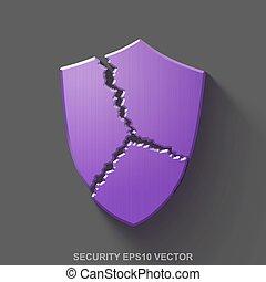 平ら, 金属, セキュリティー, 3d, icon., 紫色, グロッシー, 金属, 壊される, 保護, 上に, 灰色, バックグラウンド。, eps, 10, vector.