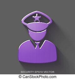 平ら, 金属, セキュリティー, 3d, icon., 紫色, グロッシー, 金属, 警察, 上に, 灰色, バックグラウンド。, eps, 10, vector.