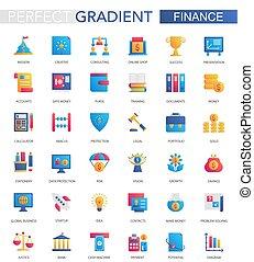 平ら, 金融, セット, ビジネス, 勾配, icons., 銀行業, ベクトル, 最新流行である
