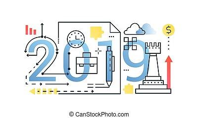 平ら, 金融, 概念, 単語, アウトライン, ビジネス, banner., レタリング, アイコン, お金, 作戦, ストローク, 2019, planning., 最新流行である, 線, 構成, typography.