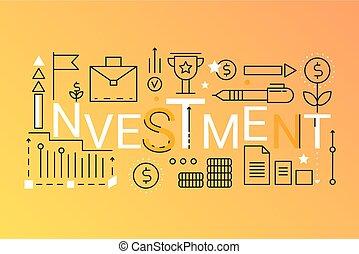 平ら, 金融, 概念, 単語, アウトライン, banner., レタリング, アイコン, 戦略上である, typography., ストローク, teamwork., 投資, 最新流行である, 線, ビジネス, 管理, 構成, 相談