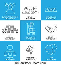 平ら, 金融, 管理, conce, サービス, アイコン, -, 販売, 線