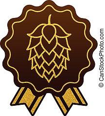 平ら, 金, 網, シンボル, 印, ビール, ホツプ, ロゴ, ラベル, 醸造所, アイコン