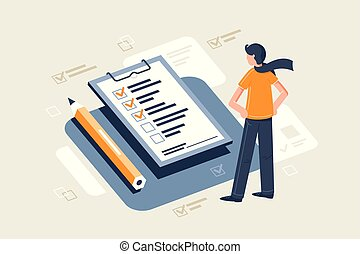 平ら, 鉛筆, sheet., 若い, 前部, テーブル, 点検, スカーフ, 人