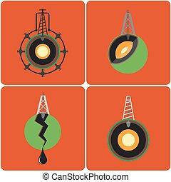 平ら, 鉱山, オイル, illustration., スタイル, サイト, デザイン, ボーリングする, earth's., タワー