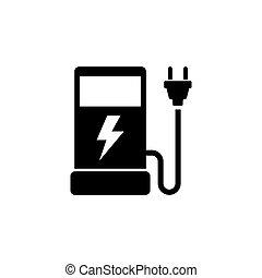 平ら, 電気である, eco, ポンプ, ベクトル, 燃料, アイコン