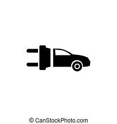 平ら, 電気である, eco, 自動車, ベクトル, アイコン