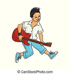 平ら, 電気 ギター, ベクトル, 音楽, 岩, 遊び, 人