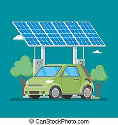 平ら, 電気 車, イラスト, 充満, ベクトル, 太陽, 充電器, 前部, 駅, style., panels.