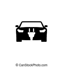 平ら, 電気 車, エネルギー, ベクトル, アイコン