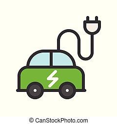 平ら, 電気 車, エネルギー, 緑, アイコン, デザイン
