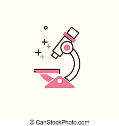 平ら, 顕微鏡, ベクトル, style., アイコン