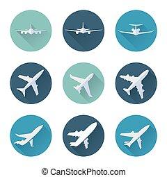 平ら, 飛行機, ベクトル, セット, アイコン