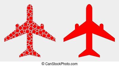 平ら, 飛行機, ベクトル, 点, アイコン