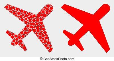 平ら, 飛行機, ベクトル, pixelated, アイコン