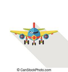 平ら, 飛行機, 交通機関, アイコン