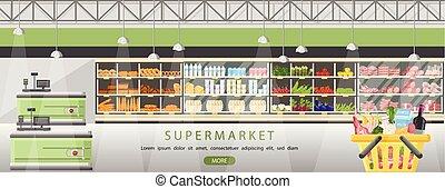 平ら, 食料雑貨 ショッピング, 立つ, market., 食物, 光景, キャッシャー, スーパーマーケット, ...