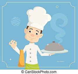 平ら, 食物, イラスト, シェフ, 暑い, ベクトル, デザイン, 漫画