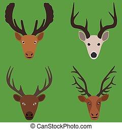 平ら, 鹿, 頭, コレクション, デザイン