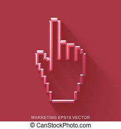 平ら, 10, マーケティング, 金属, eps, 金属, カーソル, バックグラウンド。, グロッシー, vector., icon., マウス, 赤, 3d