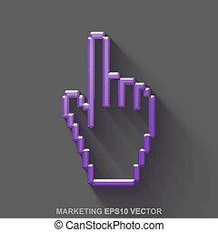 平ら, 10, 灰色, 紫色, マーケティング, 金属, eps, 金属, カーソル, バックグラウンド。, グロッシー, vector., icon., マウス, 3d
