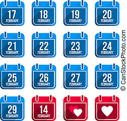 平ら, 2 月, セット, アイコン, 日々, 長い間, ベクトル, 年, カレンダー, shadow., 10