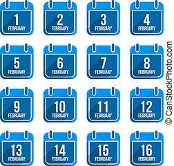 平ら, 2 月, セット, アイコン, 日々, 長い間, ベクトル, 年, 9, カレンダー, shadow.