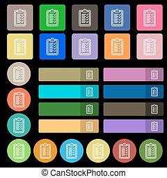 平ら, 7, セット, クリップボード, 20, 印。, 多彩, ベクトル, アイコン, buttons.
