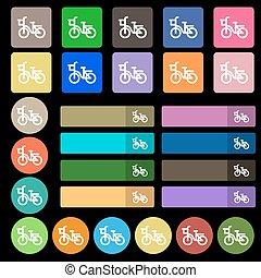 平ら, 7, セット, 自転車, 20, 印。, 多彩, ベクトル, アイコン, buttons.